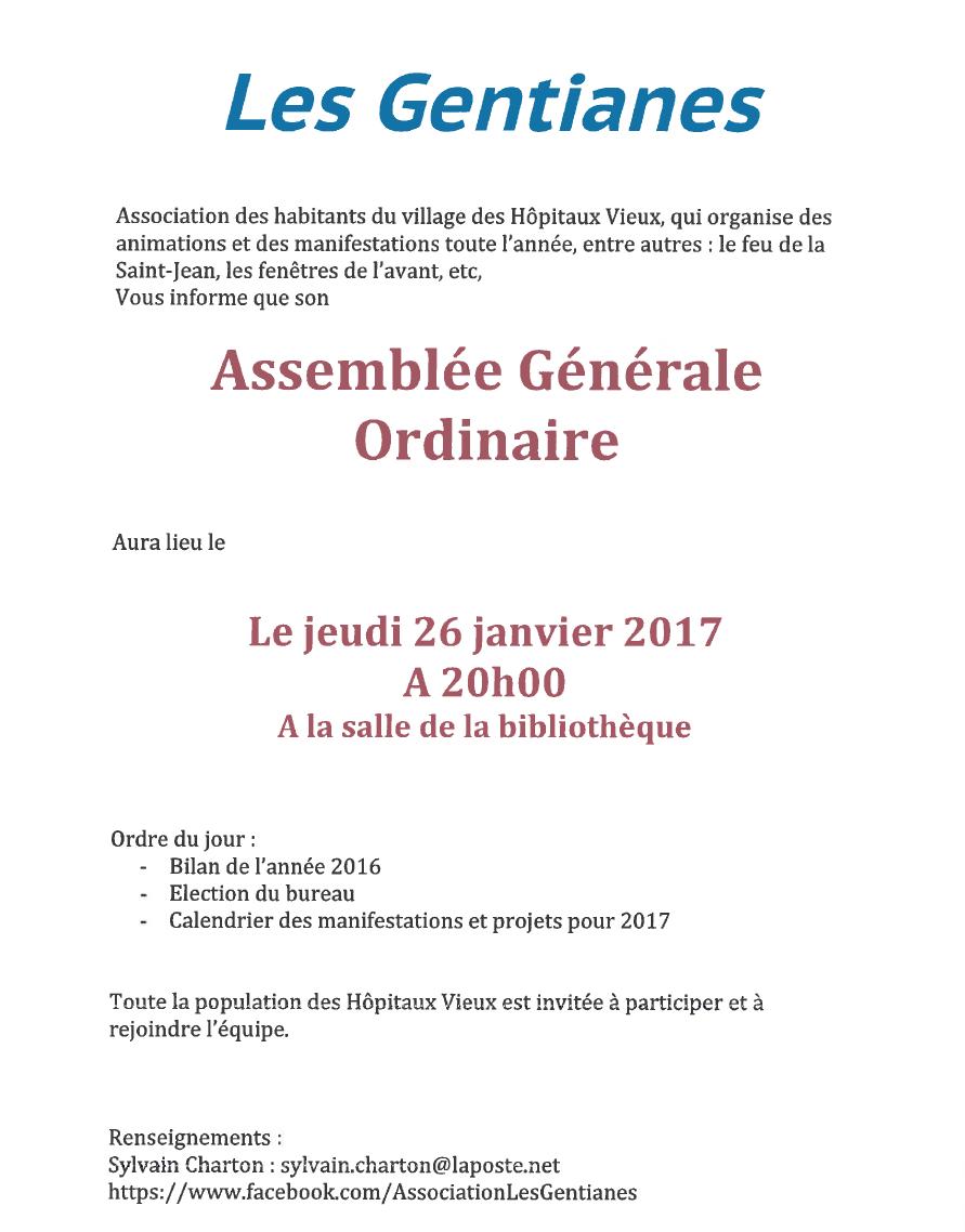 Assemblée générale association animations Les Hôpitaux-Vieux