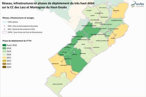 cette carte présente le déploiement du Très Haut Débit sur le territoire de la CCLMHD, programmé entre 2018 et 2021 selon les communes